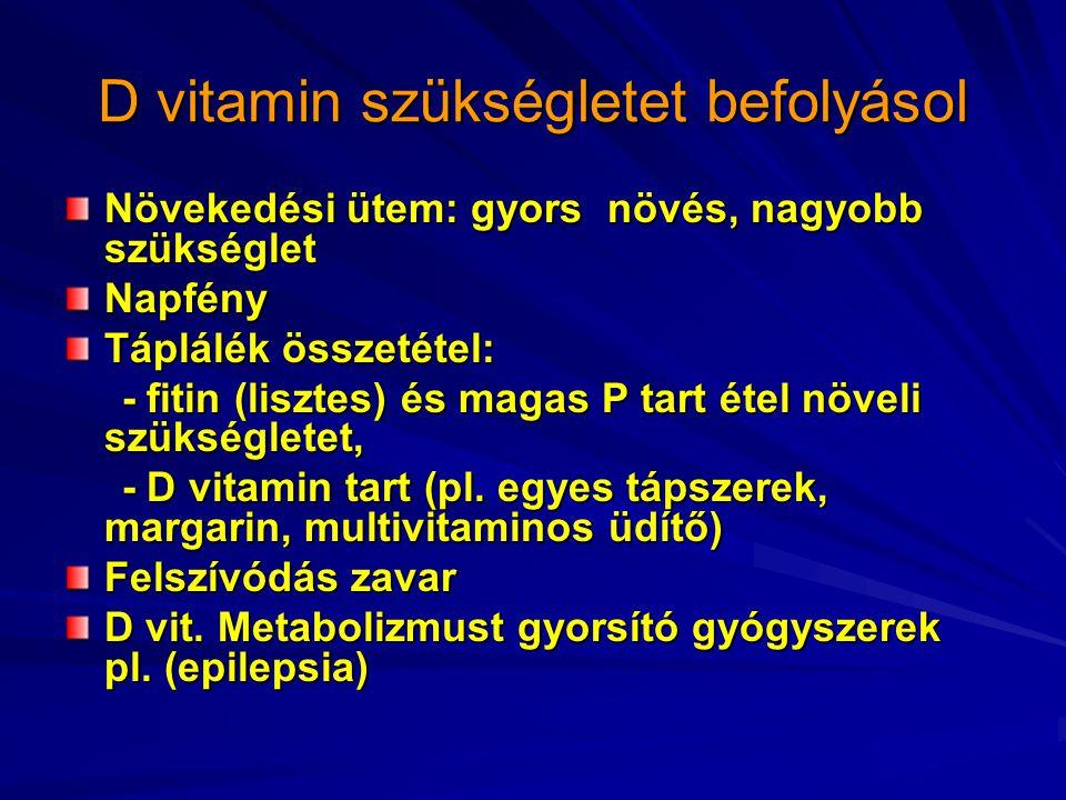 D vitamin szükségletet befolyásol Növekedési ütem: gyors növés, nagyobb szükséglet Napfény Táplálék összetétel: - fitin (lisztes) és magas P tart étel növeli szükségletet, - fitin (lisztes) és magas P tart étel növeli szükségletet, - D vitamin tart (pl.