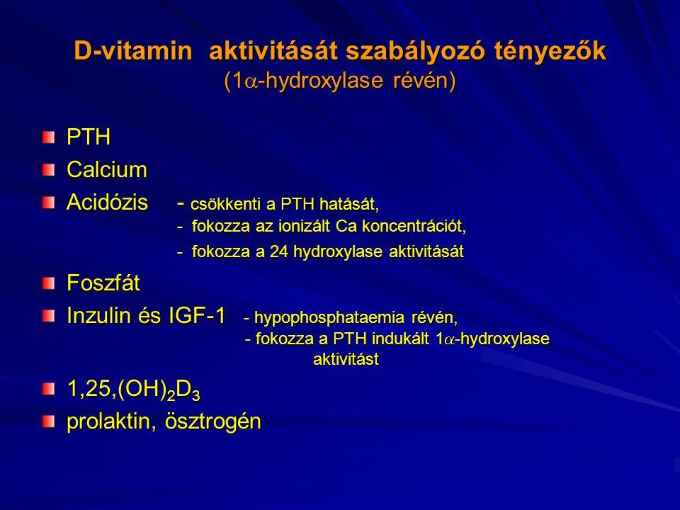 D-vitamin aktivitását szabályozó tényezők (1  -hydroxylase révén) PTHCalcium Acidózis - csökkenti a PTH hatását, - fokozza az ionizált Ca koncentráci