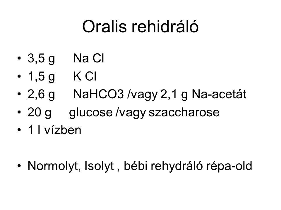 Oralis rehidráló 3,5 g Na Cl 1,5 g K Cl 2,6 g NaHCO3 /vagy 2,1 g Na-acetát 20 g glucose /vagy szaccharose 1 l vízben Normolyt, Isolyt, bébi rehydráló répa-old
