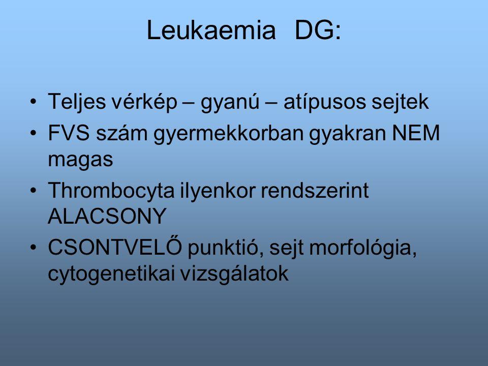 Leukaemia DG: Teljes vérkép – gyanú – atípusos sejtek FVS szám gyermekkorban gyakran NEM magas Thrombocyta ilyenkor rendszerint ALACSONY CSONTVELŐ punktió, sejt morfológia, cytogenetikai vizsgálatok