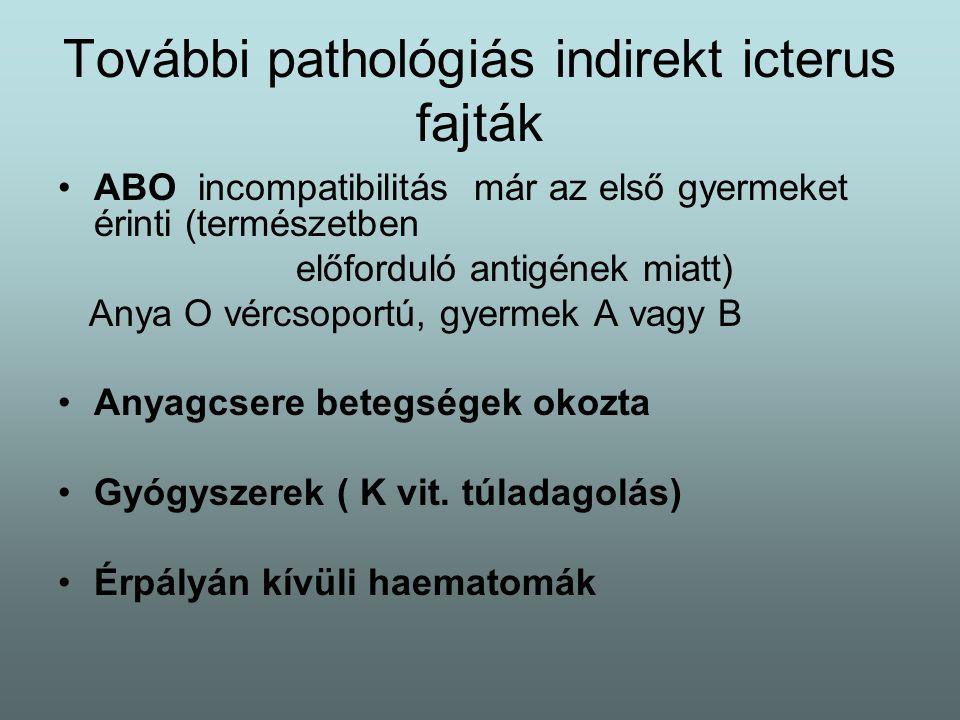 További pathológiás indirekt icterus fajták ABO incompatibilitás már az első gyermeket érinti (természetben előforduló antigének miatt) Anya O vércsoportú, gyermek A vagy B Anyagcsere betegségek okozta Gyógyszerek ( K vit.