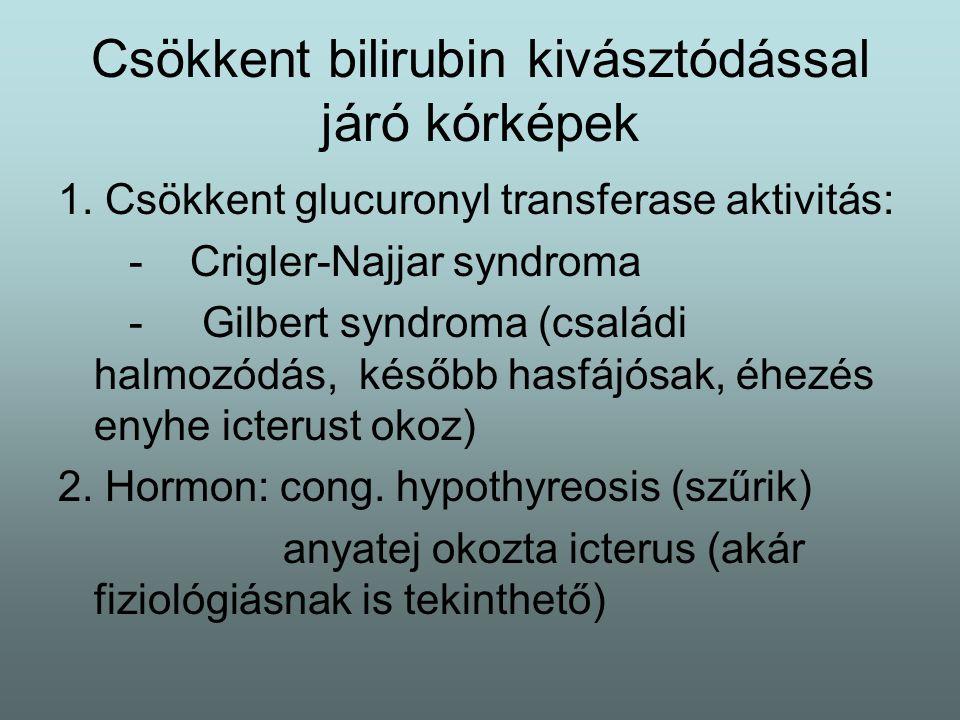 Csökkent bilirubin kivásztódással járó kórképek 1. Csökkent glucuronyl transferase aktivitás: - Crigler-Najjar syndroma - Gilbert syndroma (családi ha