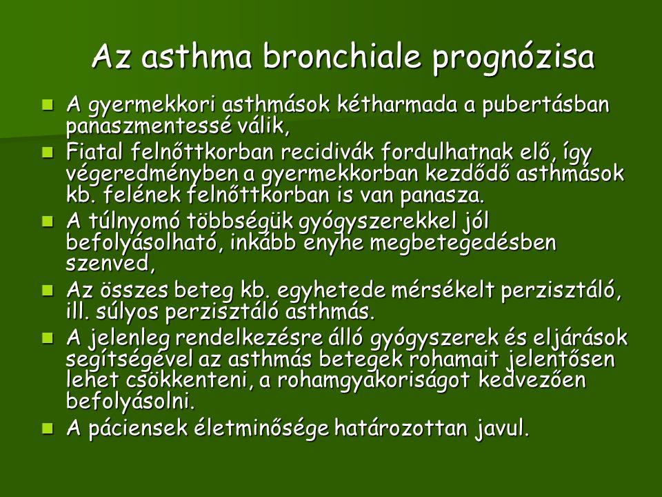 Az asthma bronchiale prognózisa A gyermekkori asthmások kétharmada a pubertásban panaszmentessé válik, A gyermekkori asthmások kétharmada a pubertásban panaszmentessé válik, Fiatal felnőttkorban recidivák fordulhatnak elő, így végeredményben a gyermekkorban kezdődő asthmások kb.