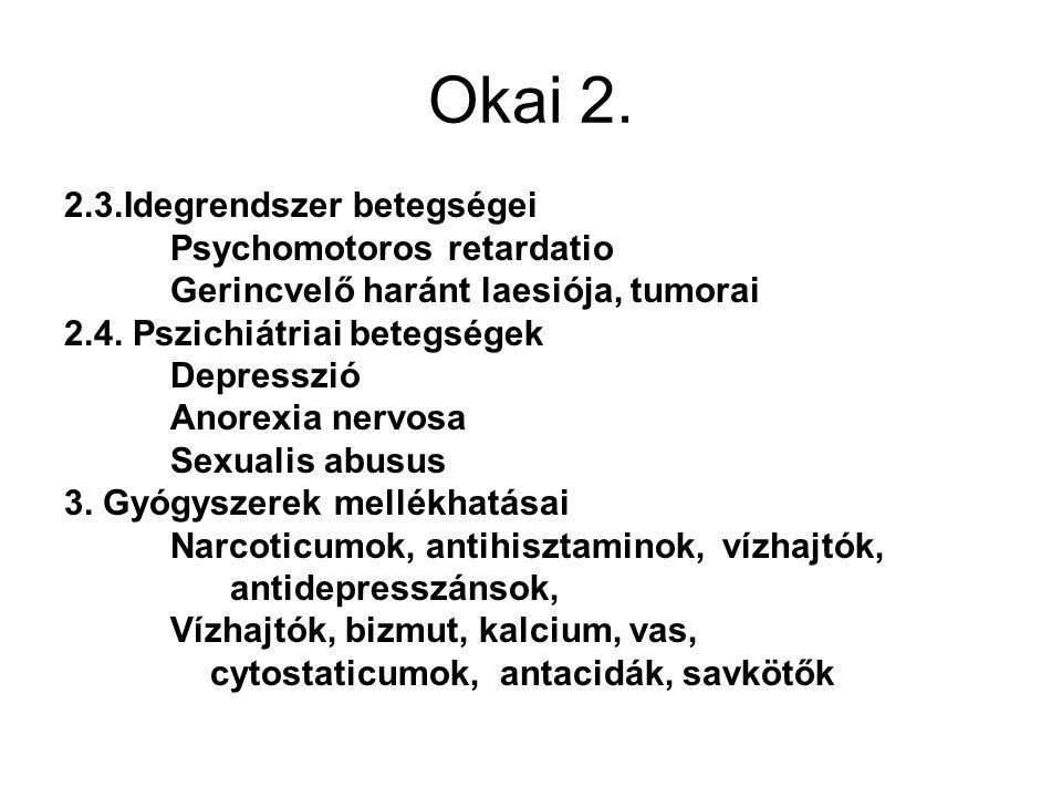 Okai 2. 2.3.Idegrendszer betegségei Psychomotoros retardatio Gerincvelő haránt laesiója, tumorai 2.4. Pszichiátriai betegségek Depresszió Anorexia ner
