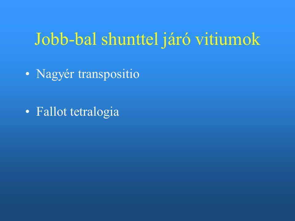 Jobb-bal shunttel járó vitiumok Nagyér transpositio Fallot tetralogia