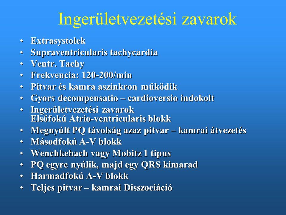 Ingerületvezetési zavarok ExtrasystolekExtrasystolek Supraventricularis tachycardiaSupraventricularis tachycardia Ventr. TachyVentr. Tachy Frekvencia: