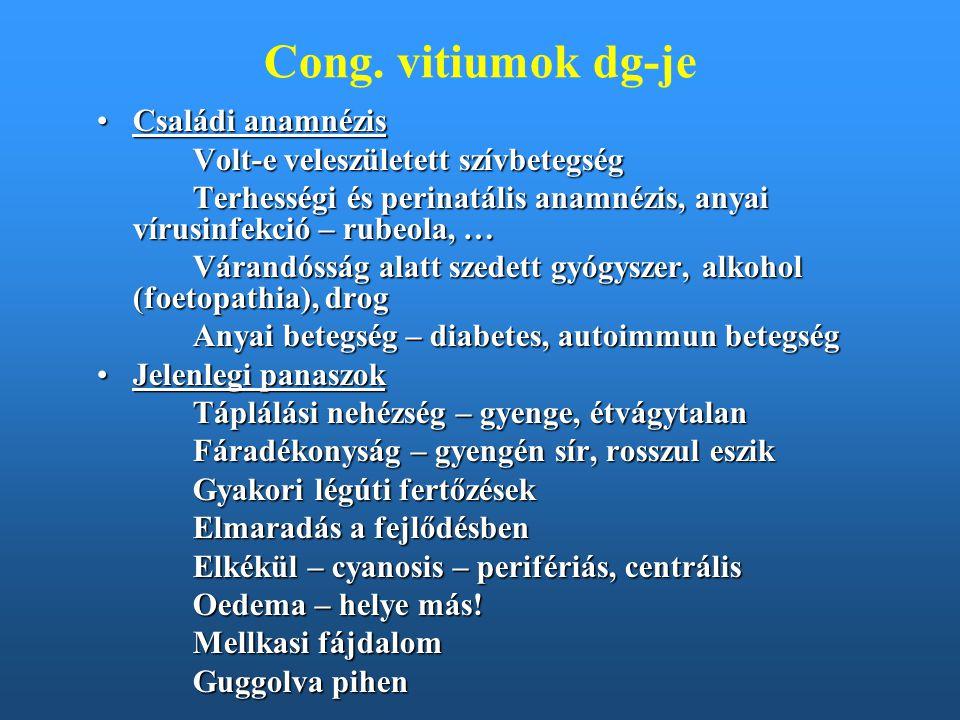 Cong. vitiumok dg-je Családi anamnézisCsaládi anamnézis Volt-e veleszületett szívbetegség Terhességi és perinatális anamnézis, anyai vírusinfekció – r