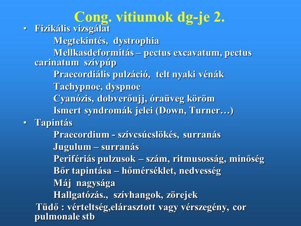 Cong. vitiumok dg-je 2. Fizikális vizsgálatFizikális vizsgálat Megtekintés, dystrophia Mellkasdeformitás – pectus excavatum, pectus carinatum szívpúp