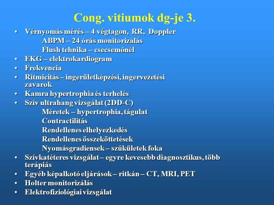 Bal-jobb shunttel járó vitiumok Pitvari sövényhiány – atrialis septum defectus - ASDPitvari sövényhiány – atrialis septum defectus - ASD Kamrai sövényhiány – ventricularis septum defectus - VSDKamrai sövényhiány – ventricularis septum defectus - VSD Nyitott ductus arteriosus - Ductus Botalli persistens - PDANyitott ductus arteriosus - Ductus Botalli persistens - PDA