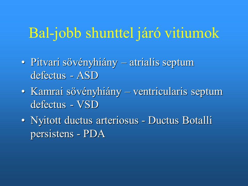Bal-jobb shunttel járó vitiumok Pitvari sövényhiány – atrialis septum defectus - ASDPitvari sövényhiány – atrialis septum defectus - ASD Kamrai sövény