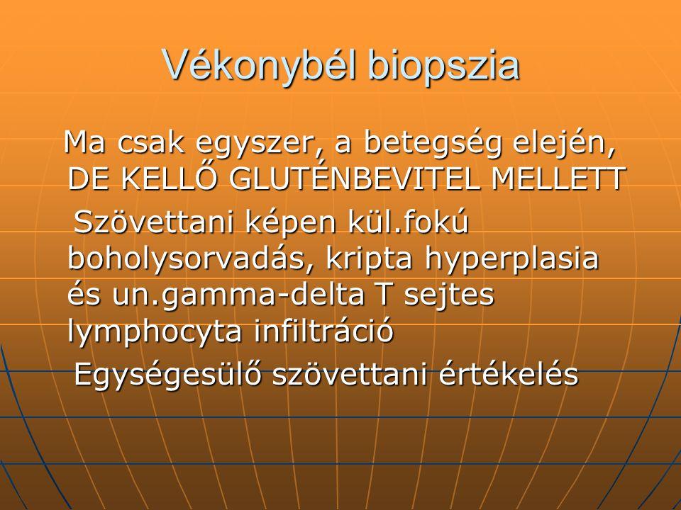 Vékonybél biopszia Ma csak egyszer, a betegség elején, DE KELLŐ GLUTÉNBEVITEL MELLETT Ma csak egyszer, a betegség elején, DE KELLŐ GLUTÉNBEVITEL MELLE