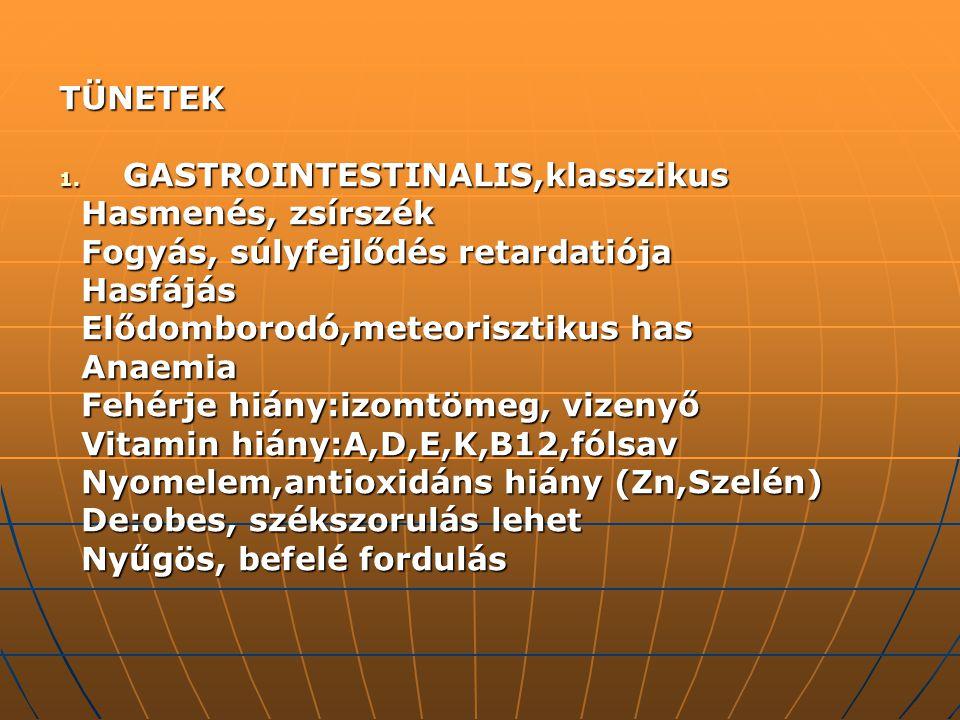 TÜNETEK 1. GASTROINTESTINALIS,klasszikus Hasmenés, zsírszék Hasmenés, zsírszék Fogyás, súlyfejlődés retardatiója Fogyás, súlyfejlődés retardatiója Has