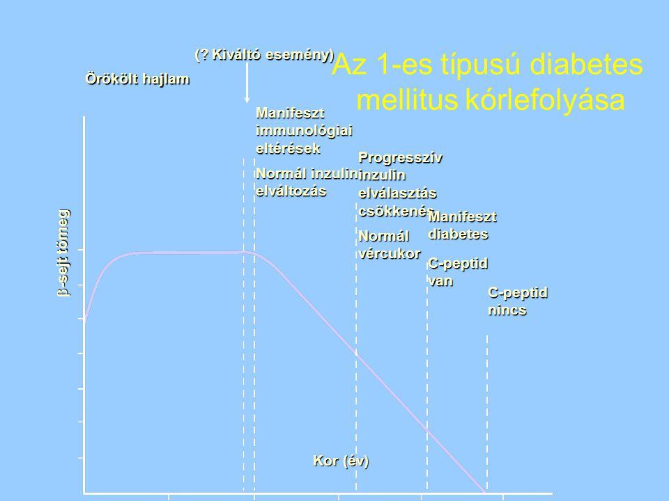 Kor (év) Örökölt hajlam Manifesztimmunológiaieltérések Normál inzulin elváltozás Progresszívinzulinelválasztáscsökkenés Normálvércukor Manifesztdiabet