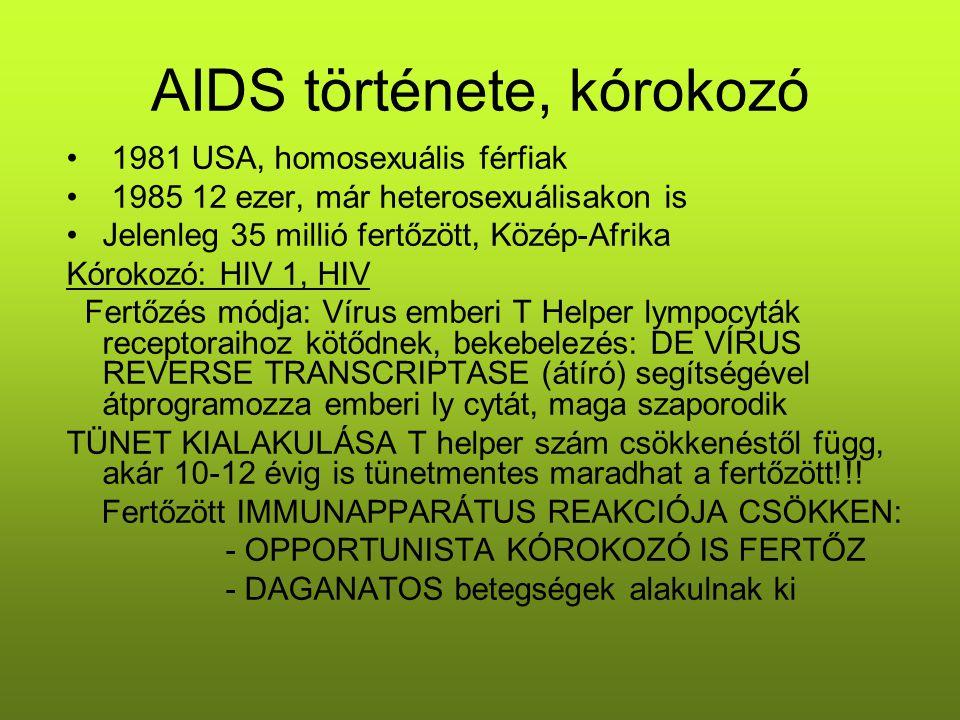 AIDS története, kórokozó 1981 USA, homosexuális férfiak 1985 12 ezer, már heterosexuálisakon is Jelenleg 35 millió fertőzött, Közép-Afrika Kórokozó: H