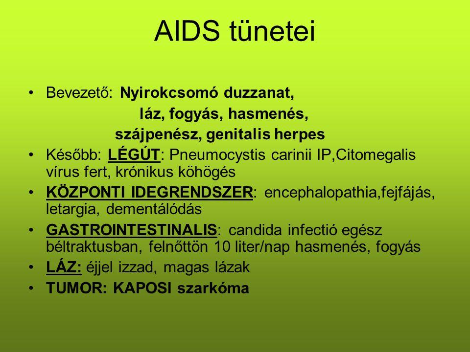 AIDS tünetei Bevezető: Nyirokcsomó duzzanat, láz, fogyás, hasmenés, szájpenész, genitalis herpes Később: LÉGÚT: Pneumocystis carinii IP,Citomegalis ví