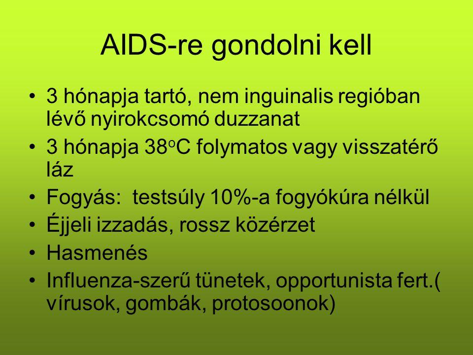 AIDS-re gondolni kell 3 hónapja tartó, nem inguinalis regióban lévő nyirokcsomó duzzanat 3 hónapja 38 o C folymatos vagy visszatérő láz Fogyás: testsú
