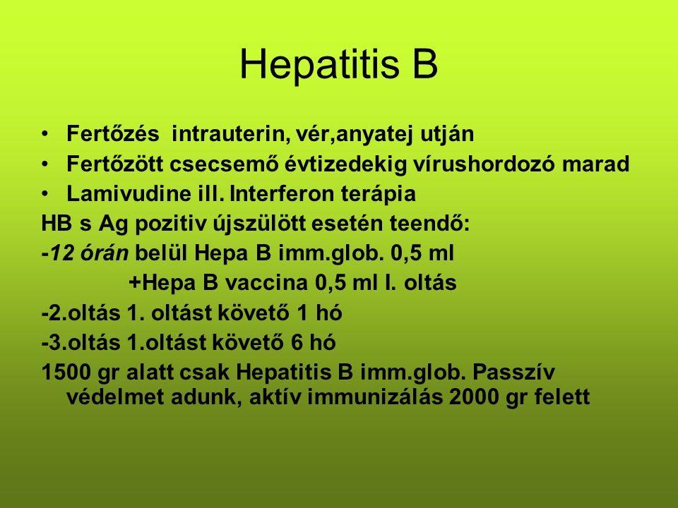 Hepatitis B Fertőzés intrauterin, vér,anyatej utján Fertőzött csecsemő évtizedekig vírushordozó marad Lamivudine ill. Interferon terápia HB s Ag pozit