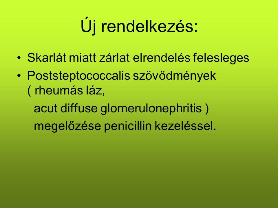 Új rendelkezés: Skarlát miatt zárlat elrendelés felesleges Poststeptococcalis szövődmények ( rheumás láz, acut diffuse glomerulonephritis ) megelőzése