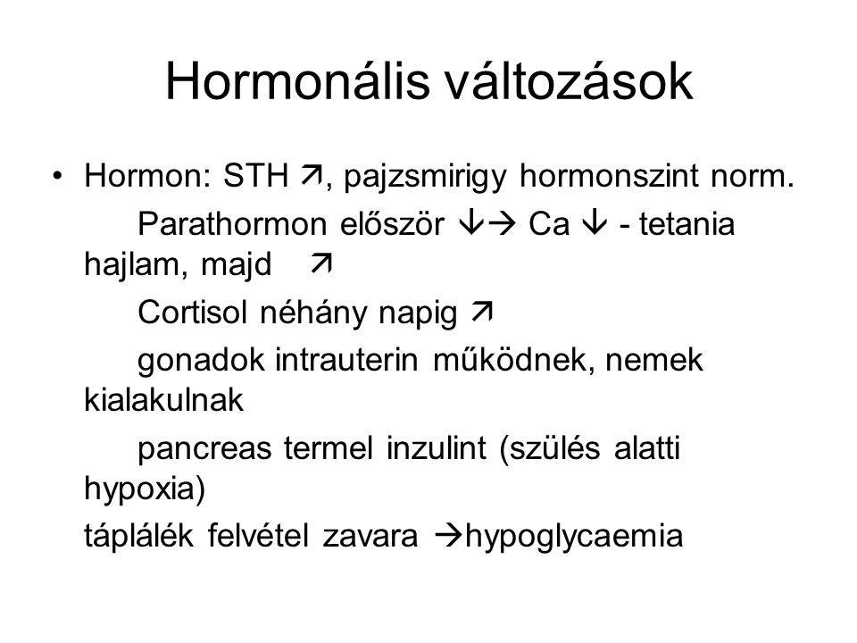 Hormonális változások Hormon:STH , pajzsmirigy hormonszint norm.