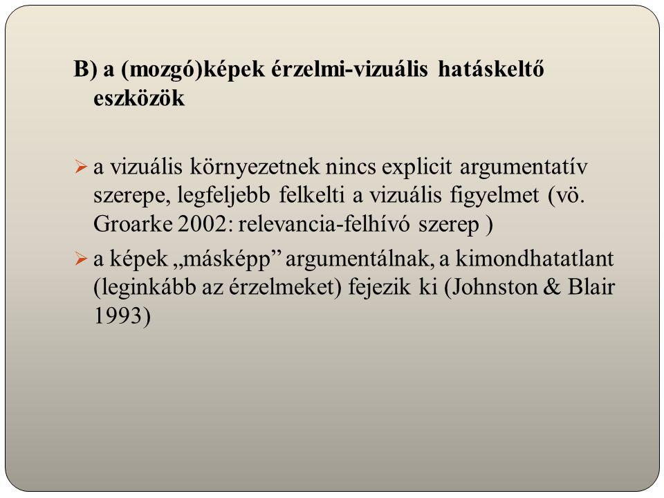 B) a (mozgó)képek érzelmi-vizuális hatáskeltő eszközök  a vizuális környezetnek nincs explicit argumentatív szerepe, legfeljebb felkelti a vizuális figyelmet (vö.