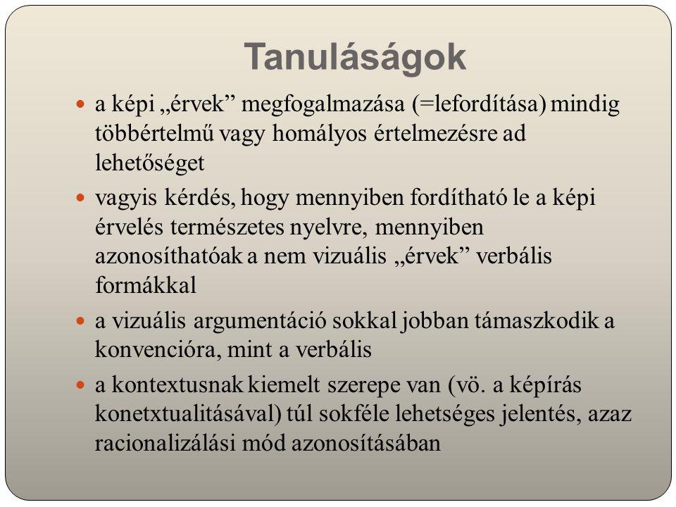 """Tanuláságok a képi """"érvek megfogalmazása (=lefordítása) mindig többértelmű vagy homályos értelmezésre ad lehetőséget vagyis kérdés, hogy mennyiben fordítható le a képi érvelés természetes nyelvre, mennyiben azonosíthatóak a nem vizuális """"érvek verbális formákkal a vizuális argumentáció sokkal jobban támaszkodik a konvencióra, mint a verbális a kontextusnak kiemelt szerepe van (vö."""