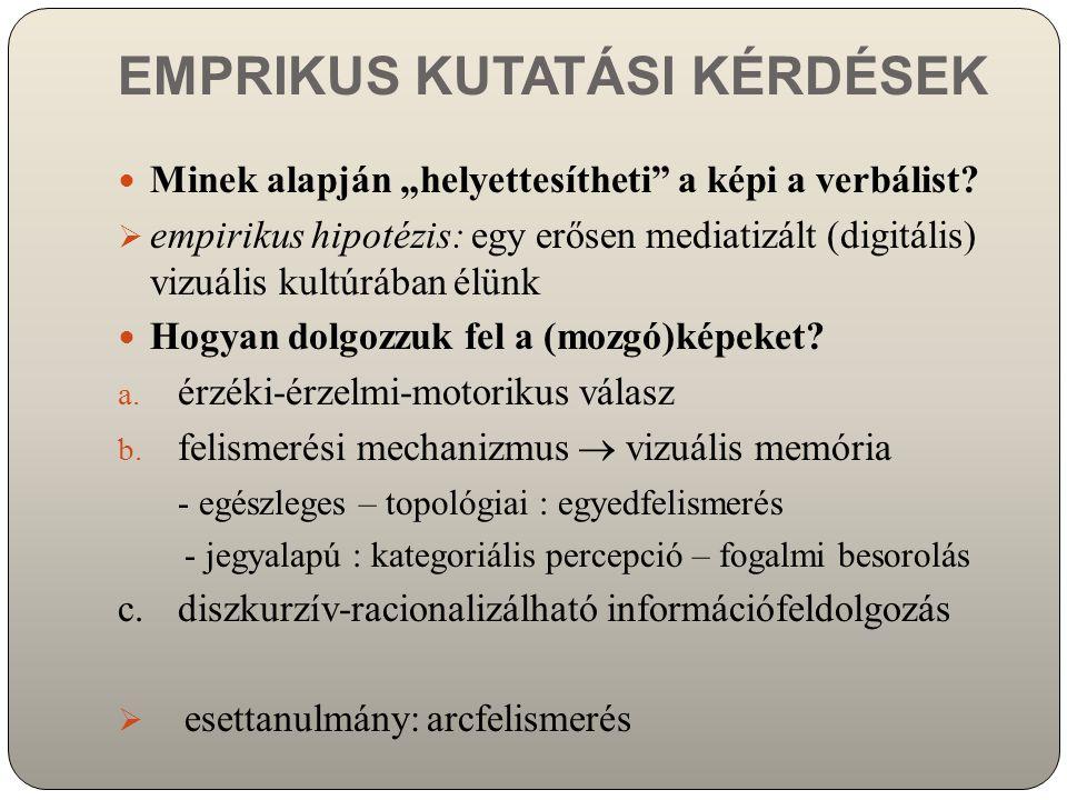 """EMPRIKUS KUTATÁSI KÉRDÉSEK Minek alapján """"helyettesítheti"""" a képi a verbálist?  empirikus hipotézis: egy erősen mediatizált (digitális) vizuális kult"""