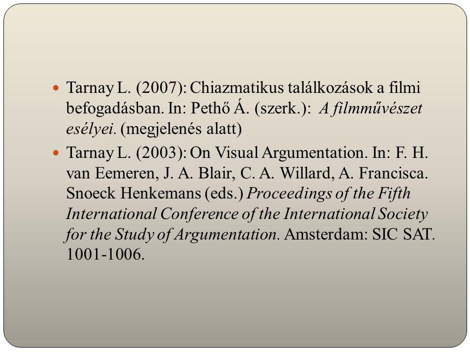 Tarnay L. (2007): Chiazmatikus találkozások a filmi befogadásban. In: Pethő Á. (szerk.): A filmművészet esélyei. (megjelenés alatt) Tarnay L. (2003):