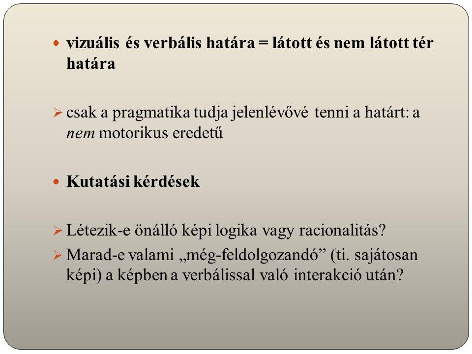 Szemantikai-pragmatikai keret: Hipotézis 2 a verbális/vizuális szövegek kétféle (i) (egzisztenciális-hermeneutikai) narratív és (ii) argumentatív értelmezése  a kettő – a különbségük megtartása mellett – egymásba ágyazódhat (Parret 1988): (narratív)