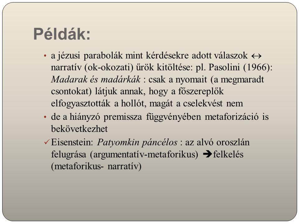 Példák: a jézusi parabolák mint kérdésekre adott válaszok  narratív (ok-okozati) űrök kitöltése: pl. Pasolini (1966): Madarak és madárkák : csak a ny