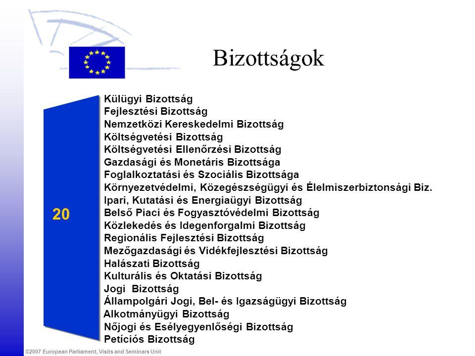 ©2007 European Parliament, Visits and Seminars Unit Bizottságok Külügyi Bizottság Fejlesztési Bizottság Nemzetközi Kereskedelmi Bizottság Költségvetési Bizottság Költségvetési Ellenőrzési Bizottság Gazdasági és Monetáris Bizottsága Foglalkoztatási és Szociális Bizottsága Környezetvédelmi, Közegészségügyi és Élelmiszerbiztonsági Biz.