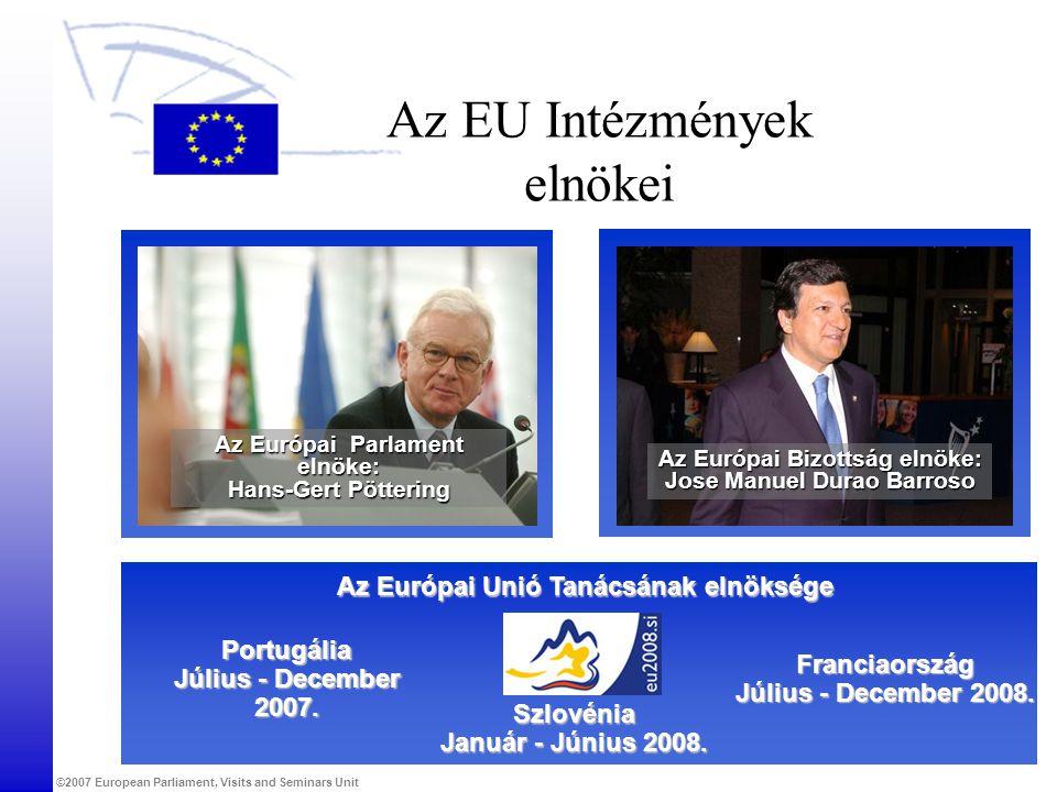 ©2007 European Parliament, Visits and Seminars Unit Az EU Intézmények elnökei Az Európai Unió Tanácsának elnöksége Franciaország Július - December 2008.