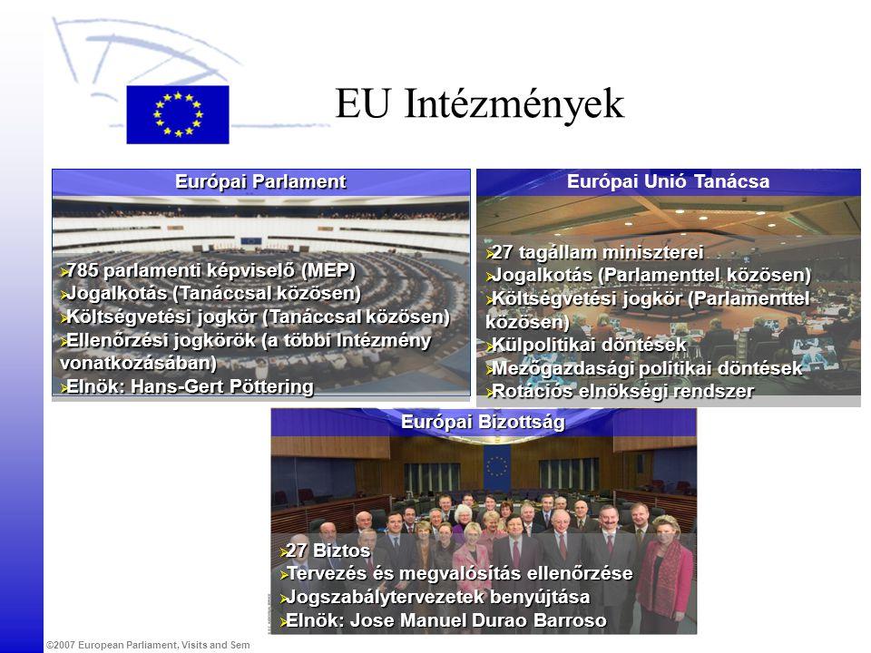 ©2007 European Parliament, Visits and Seminars Unit Európai Bizottság EU Intézmények  27 Biztos  Tervezés és megvalósítás ellenőrzése  Jogszabálytervezetek benyújtása  Elnök: Jose Manuel Durao Barroso Európai Unió Tanácsa  27 tagállam miniszterei  Jogalkotás (Parlamenttel közösen)  Költségvetési jogkör (Parlamenttel közösen)  Külpolitikai döntések  Mezőgazdasági politikai döntések  Rotációs elnökségi rendszer Európai Parlament  785 parlamenti képviselő (MEP)  Jogalkotás (Tanáccsal közösen)  Költségvetési jogkör (Tanáccsal közösen)  Ellenőrzési jogkörök (a többi Intézmény vonatkozásában)  Elnök: Hans-Gert Pöttering