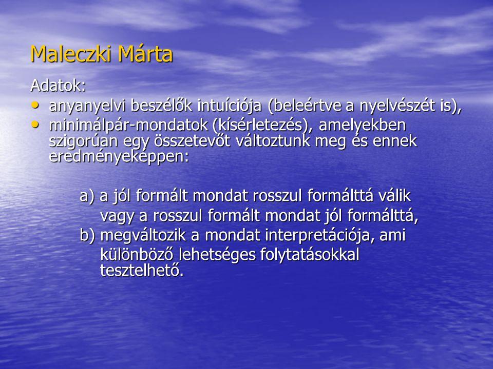 Maleczki Márta Adatok: anyanyelvi beszélők intuíciója (beleértve a nyelvészét is), anyanyelvi beszélők intuíciója (beleértve a nyelvészét is), minimálpár-mondatok (kísérletezés), amelyekben szigorúan egy összetevőt változtunk meg és ennek eredményeképpen: minimálpár-mondatok (kísérletezés), amelyekben szigorúan egy összetevőt változtunk meg és ennek eredményeképpen: a) a jól formált mondat rosszul formálttá válik vagy a rosszul formált mondat jól formálttá, vagy a rosszul formált mondat jól formálttá, b) megváltozik a mondat interpretációja, ami különböző lehetséges folytatásokkal tesztelhető.
