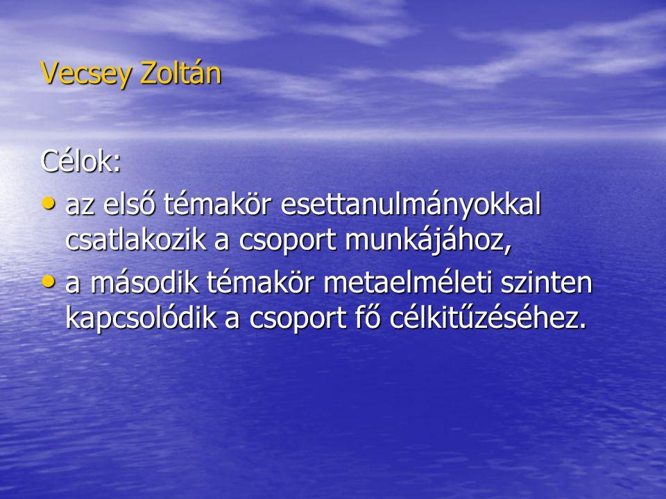 Vecsey Zoltán Célok: az első témakör esettanulmányokkal csatlakozik a csoport munkájához, az első témakör esettanulmányokkal csatlakozik a csoport munkájához, a második témakör metaelméleti szinten kapcsolódik a csoport fő célkitűzéséhez.