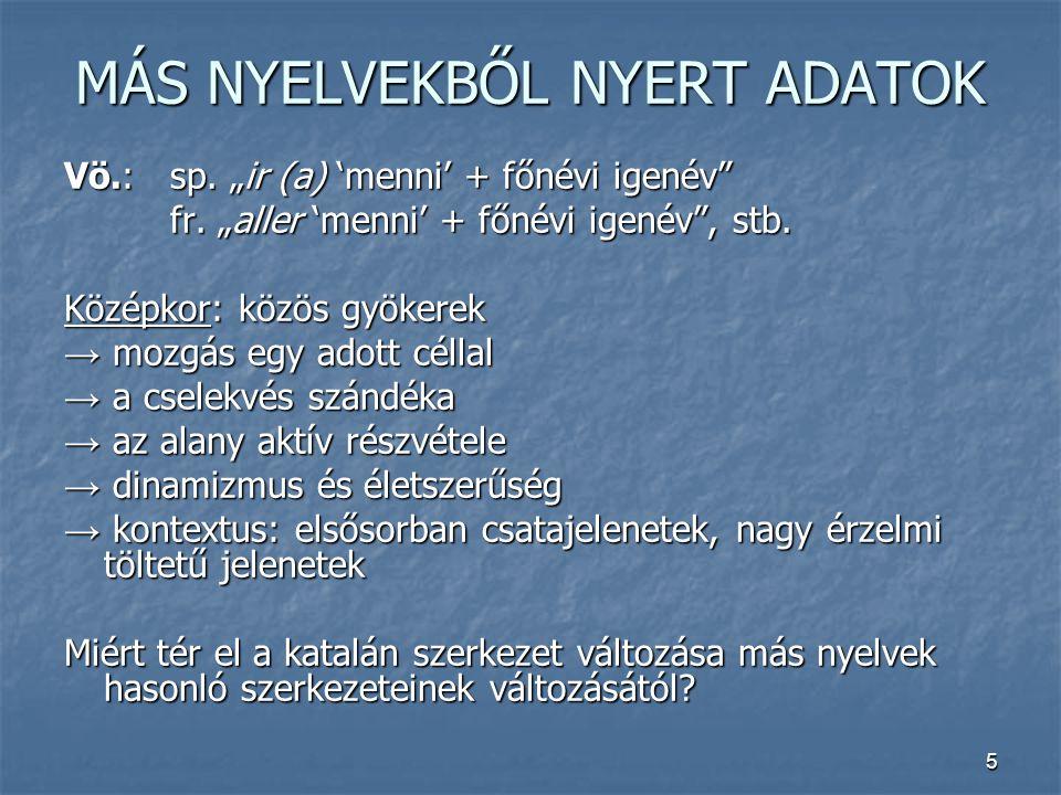 """5 MÁS NYELVEKBŐL NYERT ADATOK Vö.:sp. """"ir (a) 'menni' + főnévi igenév"""" fr. """"aller 'menni' + főnévi igenév"""", stb. Középkor: közös gyökerek → mozgás egy"""