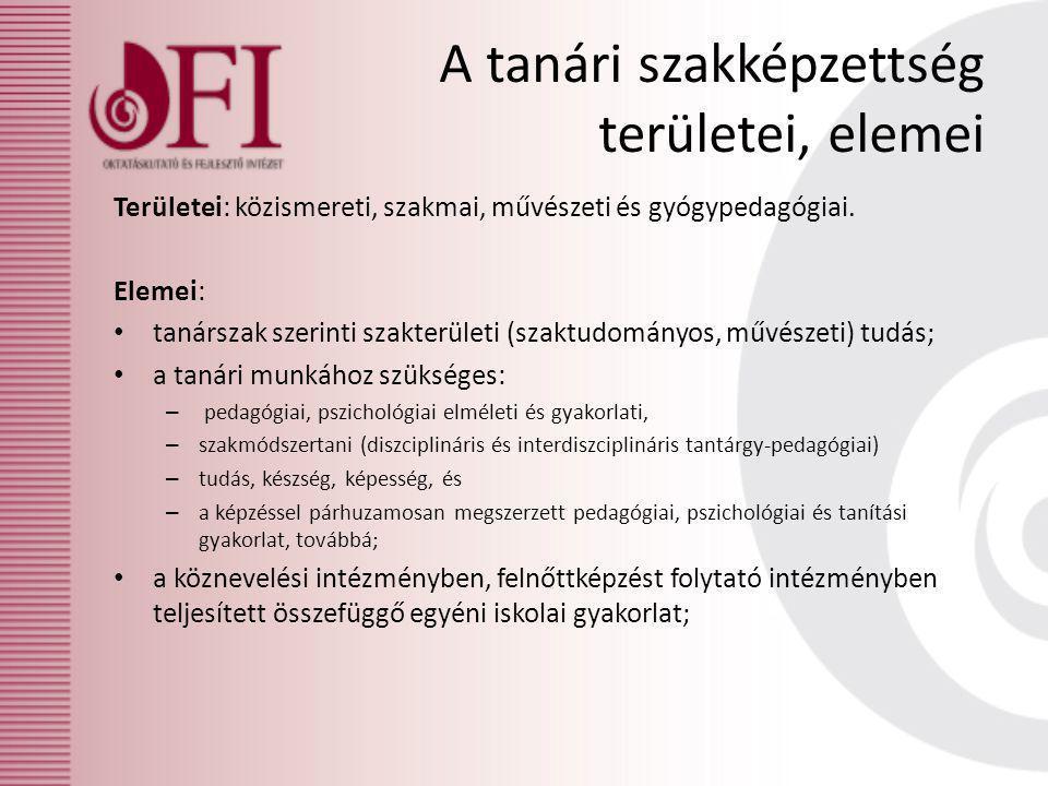 A tanári szakképzettség területei, elemei Területei: közismereti, szakmai, művészeti és gyógypedagógiai.