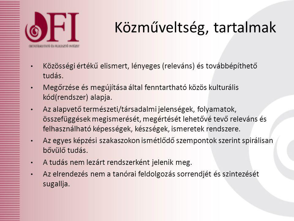 Közműveltség, tartalmak Közösségi értékű elismert, lényeges (releváns) és továbbépíthető tudás.