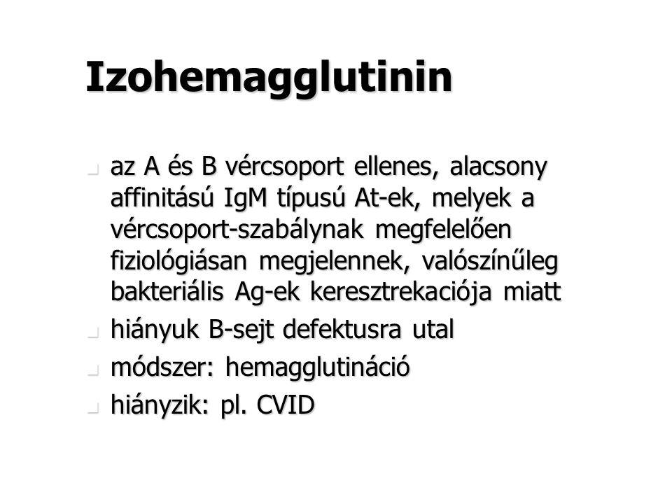 Izohemagglutinin az A és B vércsoport ellenes, alacsony affinitású IgM típusú At-ek, melyek a vércsoport-szabálynak megfelelően fiziológiásan megjelen