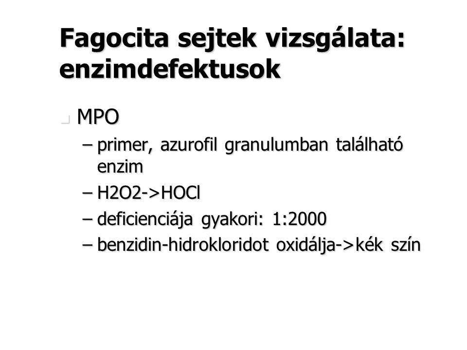 Fagocita sejtek vizsgálata: enzimdefektusok MPO MPO –primer, azurofil granulumban található enzim –H2O2->HOCl –deficienciája gyakori: 1:2000 –benzidin