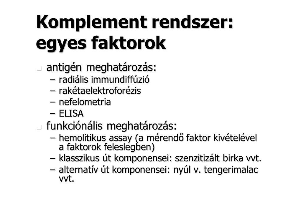Komplement rendszer: egyes faktorok antigén meghatározás: antigén meghatározás: –radiális immundiffúzió –rakétaelektroforézis –nefelometria –ELISA fun