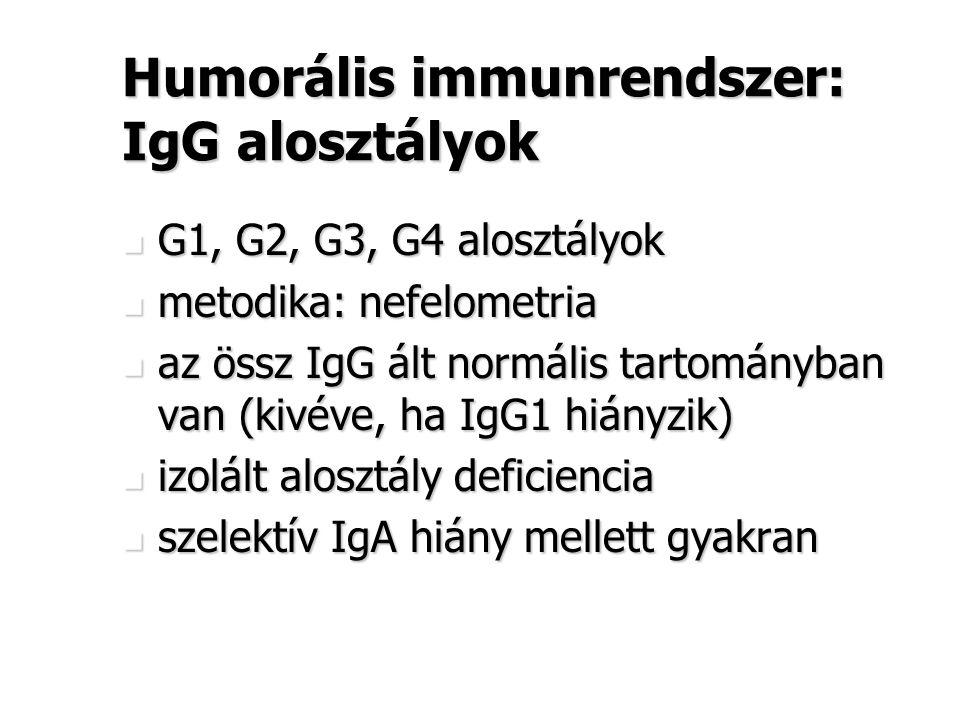 Humorális immunrendszer: IgG alosztályok G1, G2, G3, G4 alosztályok G1, G2, G3, G4 alosztályok metodika: nefelometria metodika: nefelometria az össz I