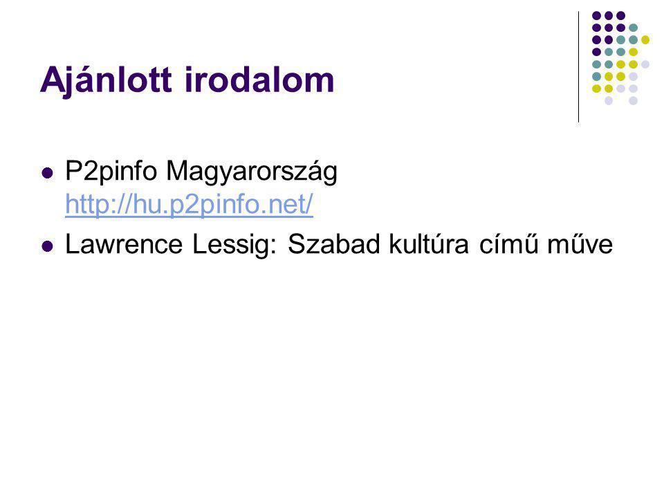 Ajánlott irodalom P2pinfo Magyarország http://hu.p2pinfo.net/ http://hu.p2pinfo.net/ Lawrence Lessig: Szabad kultúra című műve