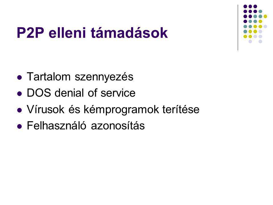 P2P elleni támadások Tartalom szennyezés DOS denial of service Vírusok és kémprogramok terítése Felhasználó azonosítás