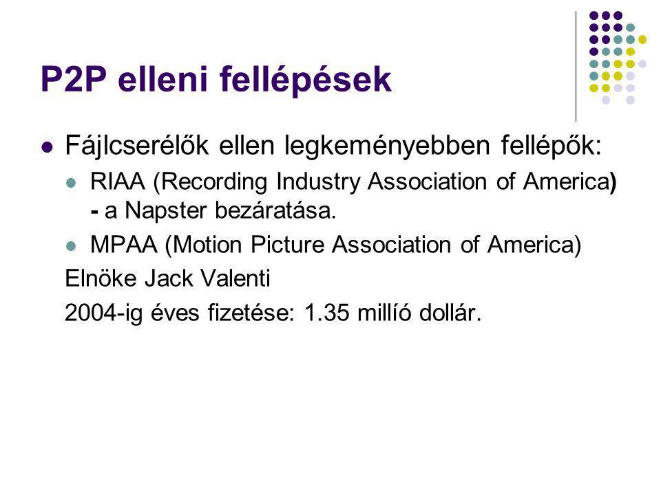 P2P elleni fellépések Fájlcserélők ellen legkeményebben fellépők: RIAA (Recording Industry Association of America) - a Napster bezáratása. MPAA (Motio
