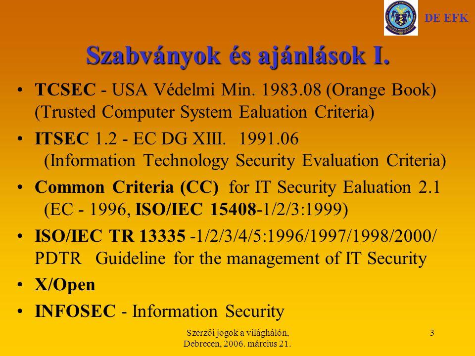 Szerzői jogok a világhálón, Debrecen, 2006. március 21. 34 A PGP működése (titkosítás) DE EFK