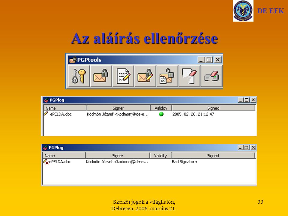 Szerzői jogok a világhálón, Debrecen, 2006. március 21. 33 Az aláírás ellenőrzése DE EFK