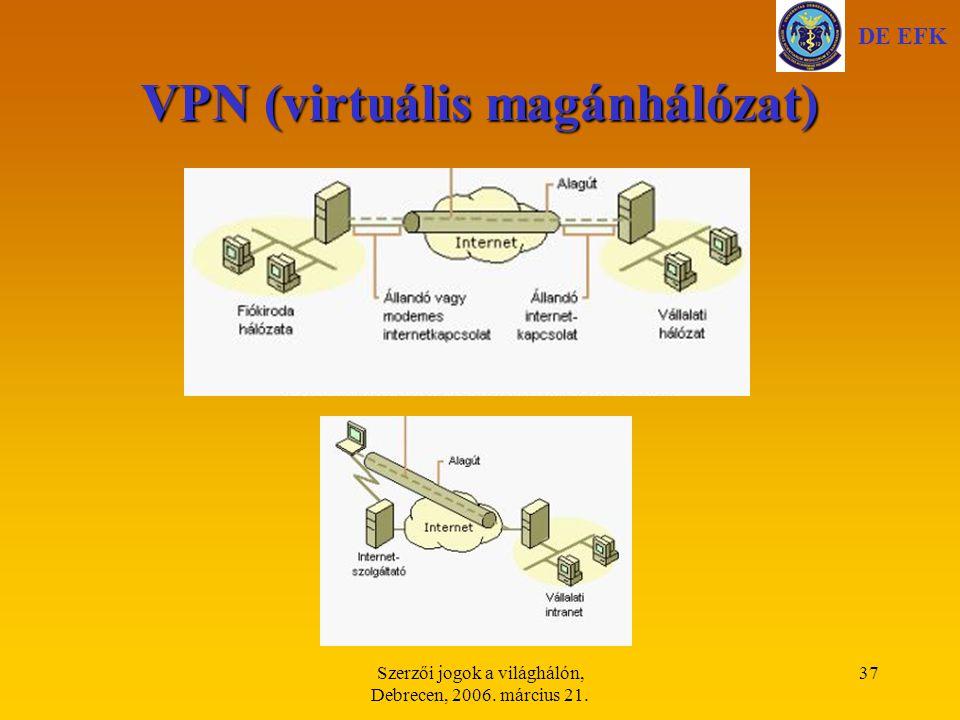Szerzői jogok a világhálón, Debrecen, 2006. március 21. 37 VPN (virtuális magánhálózat) DE EFK