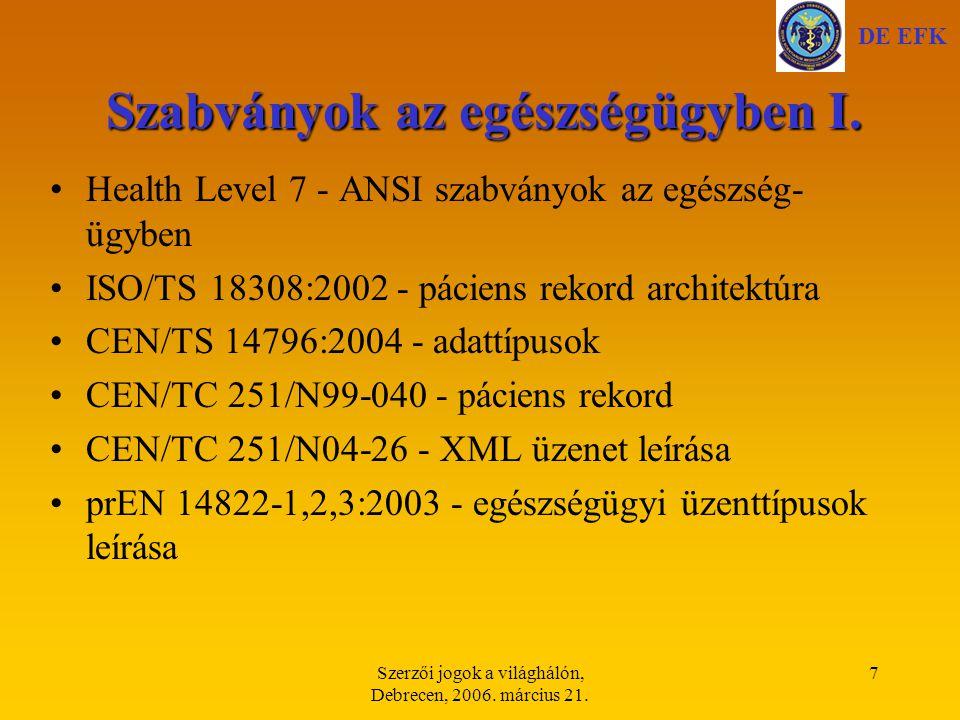 Szerzői jogok a világhálón, Debrecen, 2006. március 21. 18 Elektronikus aláírás DE EFK