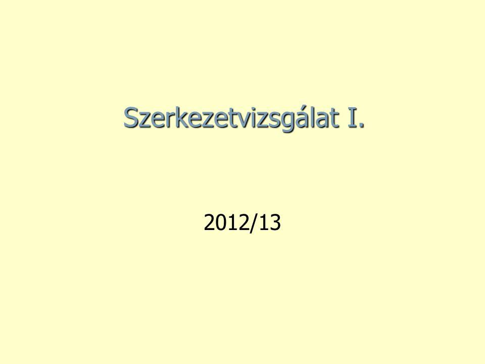 Szerkezetvizsgálat I. 2012/13