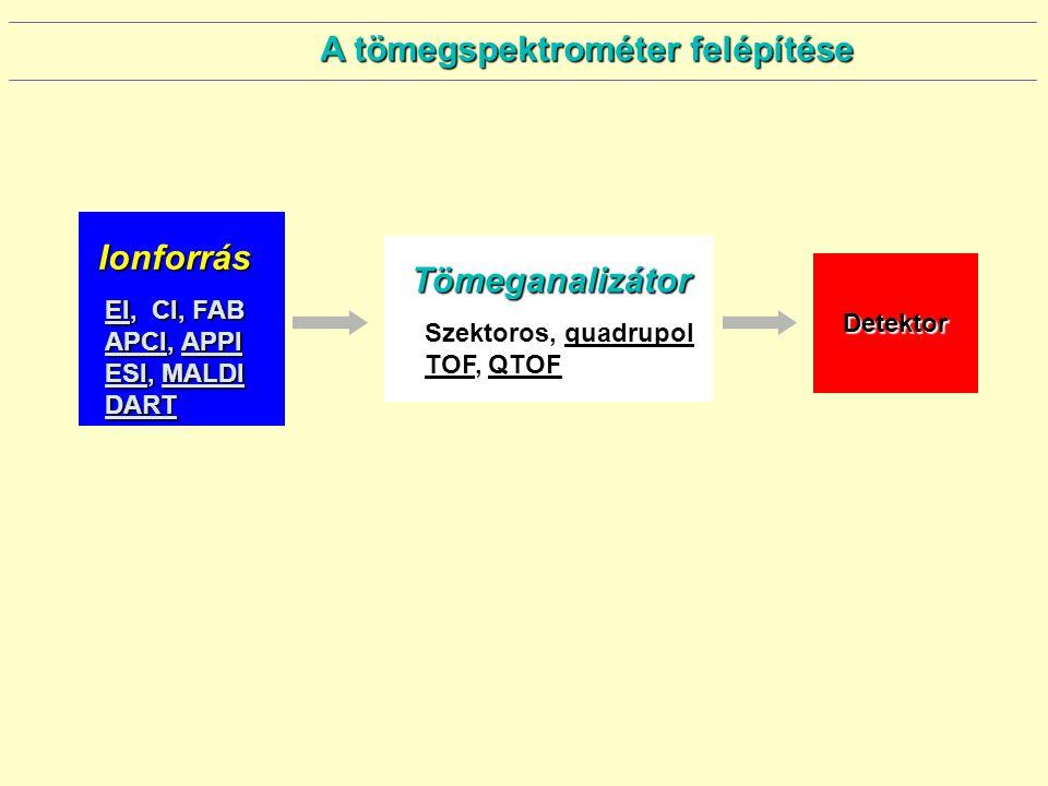 A tömegspektrométer felépítése Ionforrás EI, CI, FAB APCI, APPI ESI, MALDI DART Tömeganalizátor Szektoros, quadrupol TOF, QTOF Detektor